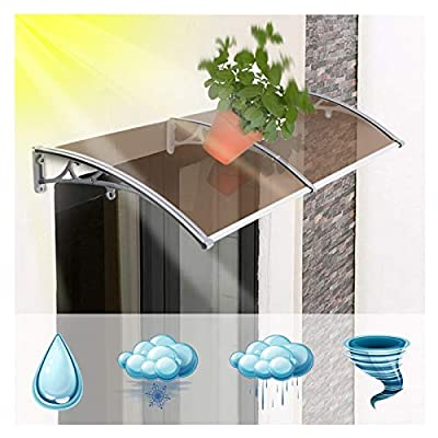 Awning Rain Door Canopy, Patio Canopie UV Rain Snow Sunlight Protection, Thickened Aluminum Alloy Bracket Anti-Rust, Size Customization (Color : A, Size : 60cmx120cm)