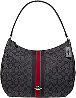 Coach Zip Shoulder Bag In Signature Jacquard With Stripe Red Multi