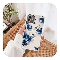 Hjiing 花の水彩ソフト保護ケース水彩画iPhone用携帯電話ケース12Pro Max Mini 11 XS MAX X XR SE 2020 7 8Plusソフトケース-Style 1-For iphone 11
