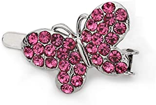 Hair Clips Barrette 1pcs Austrian Crystals Butterfly Magnetic Barrette (Colors Available), Pink