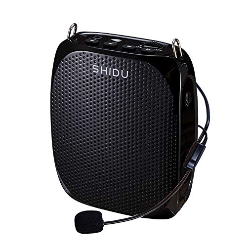 SHIDU Portable Rechargeable Voice Amplifier with Wired Neckband Microphone, Supports AUX, USB & Micro-SD Card Input for Teachers, Tour Guides, Coaches, Classroom, Singing, Yoga, Fitness Instructors