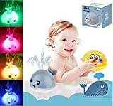 OSIAOIUDOA Baby Bath Toys, 2PCS Induction Spray Water Toy Whale Bathtub Toys with LED Light up Bath Toys Fountain Toy Bath Squirt Toys for Toddlers Kids(Grey Whale & Yellow Smiley)