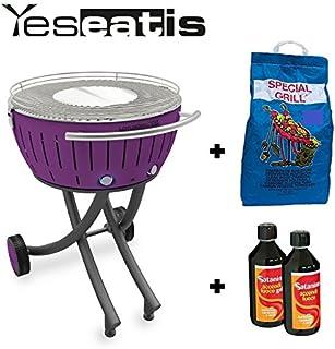 Lotusgrill XXL con Ruedas + Starter Kit BBQ: 2Kg Carbobois Carbon Vegetal and 500ml Encendedor Gel Satanino - Purpura