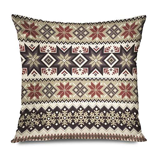 LXJ-CQ Funda de Almohada Cuadrada Diseño 18x18 Tradición nórdica Textil Patrón de Invierno Interiors consecutivos Texturas Simples Tradicionales Funda de Almohada con Cremallera