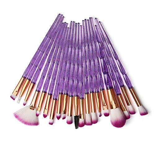 KOLIGHT Pack of 20pcs Cosmetic Eye Shadow Sponge Eyeliner Eyebrow Lip Nose Foundation Powder Makeup Brushes Sets (purple)