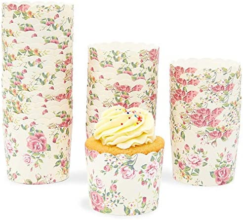 50 Pack Muffin Liners Vintage Floral Cupcake Wrappers Paper Baking Cups product image