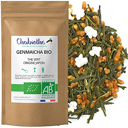 Chabiothé - Thé vert Genmaicha Bio origine Japon 200g - sachet biodégradable - avec riz soufflé