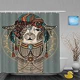 Cortinas de Ducha,Llama Alpaca con Pañuelo En La Cabeza Estilo Bohemio Perú Animal Creativo, Cortina de Baño Material de poliéster Resistente al Agua con Ganchos 180 * 200cm