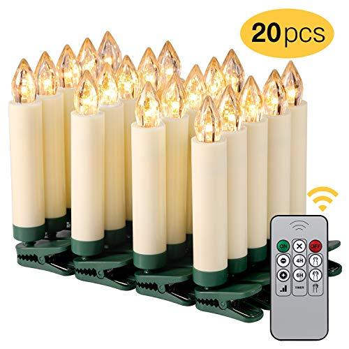 Kohree 20er Flammenlose Flackernde LED Kerzen Kabellos Dimmbar Kerzenlichter mit Timer Fernbedienung Batterien Weihnachtskerzen Elektrische Kerzen außen innen für Geburtstags Party Hochzeit