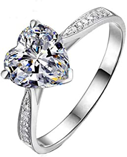 925 Sterling Silver Simulated Diamond Heart Shape Engagement Wedding Promise Ring for Women and Girls with Cubic Zirconia 2g Size 5 6 7 8 9 LJ041