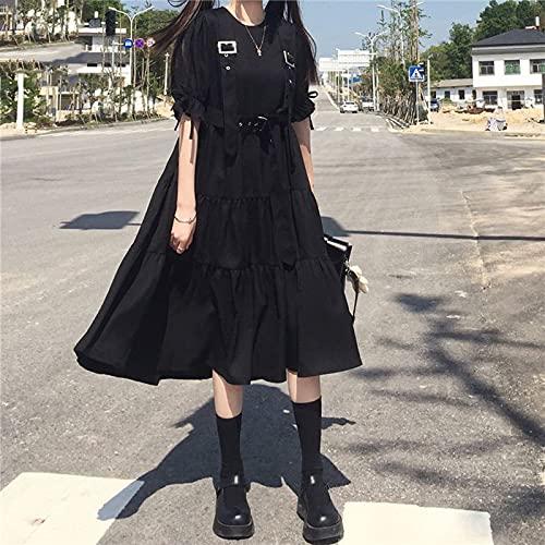 ZOULME Vestidos de Lolita, Vestido de Mujer gótico Lolita Punk japonés Harajuku Vestido Encantador Maid Goth Negro de Manga Larga con Tirantes Vestido de Vendaje