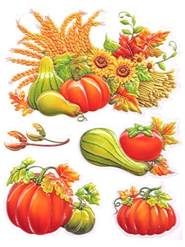 dpr. 3D Fensterbild Set 5-teilig Herbst Herbstfrüchte Kürbis Ähren Blätter Fenstersticker Herbst Aufkleber Fensterdekoration Raumdekoration