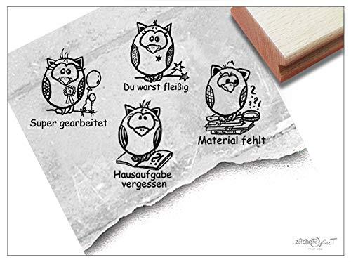 Stempel Lehrerstempel Eule I, 4er-Set Lob/Kritik - 4 Schulstempel zur Motivation der Kinder im Set, Belohnung Geschenk für Lehrer - zAcheR-fineT