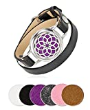 Dreamcatcher Locket Essential Oil & Aromatherapy Long Diffuser Bracelet with Leather Band with Hinge and Magnetic Closure Stainless Steel for Women | Use With Young Living & doTERRA Oils | SPUNKYsoul