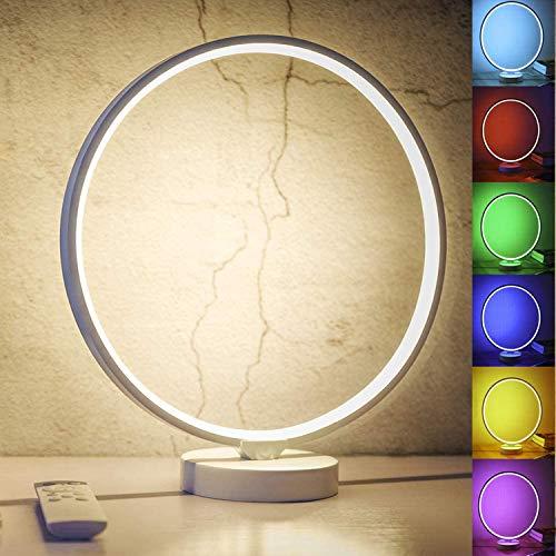 LED Nachttischlampe, Dimmbar Atmosphäre Tischlampe mit Warmweißem Licht, 6 Farben und Farbwechsel mit Fernbedienung Nachtlicht für Schlafzimmer Wohnzimmer und Büro