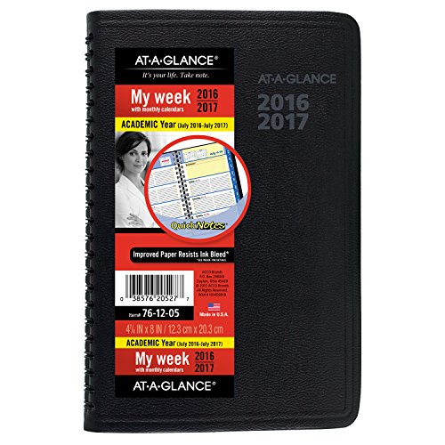 """AT-A-GLANCE Academic Year Weekly/Monthly Appointment Book/Planner, July 2016 - July 2017, 4-7/8""""x8"""" (76-12-05)"""