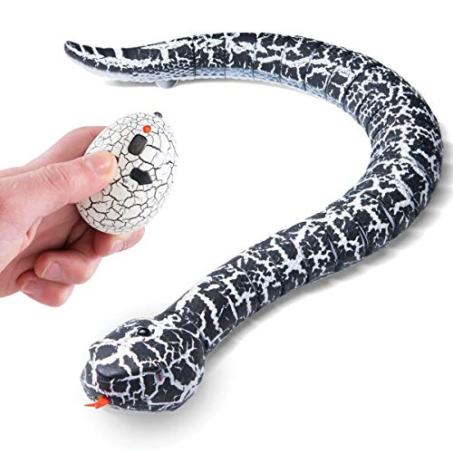Top Race RC Rassel Schlange mit Fernbedienung Streich Spielzeug, schnelle Bewegung einziehbarer Zunge und schwingenden Schwanz 3 Frequenzen verfügbar (Tr-A22)