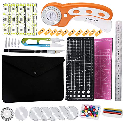 45 mm Rotary Cutter Set with Storage Bag, A4 Self Healing Cutting Mat, Acrylic Ruler, 7 Pcs Replacement Blades, Sewing Pins, Craft Knife Set and Craft Clips, Ideal for Sewing, Crafting, Patchworking