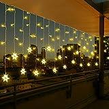 Vegena Cortina de Luces Led 3,5M 96 LEDs Cortinas de Luz 8 Modos Guirnaldas Luminosas con Forma de Copo de Nieve LED para Navidad Festival Fiestas