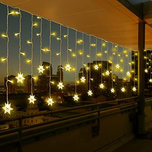 LED Lichtervorhang, Vegena 3,5M 96 LED Schneeflocken Lichterketten LED String Lights LED Lichterkettenvorhang Weihnachten Beleuchtung EU Stecker 8 Flimmer-Modi für Innen Außen