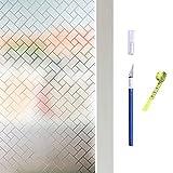Hive secrets:Película para ventanas de privacidad, película para decoración de vidrio, PVC, película para ventanas electrostática, equipada con herramientas, cuchillo manual y cinta métrica (30X200CM)