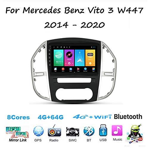 Yuahwyehe Android 10 Autoradio Radio Navigationssystem Für Mercedes Benz Vito 3 W447 2014~2020 DAB+ Autoradio Mit & Bluetooth Freisprecheinrichtung Soundprozessor R&Uumlckfahrkamera,M400