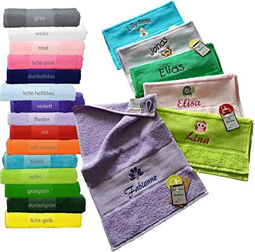 me Kinder-Handtuch (Gästetuch) 30x50cm mit Namen & Motiv Bestickt (14 Farben zur Auswahl)