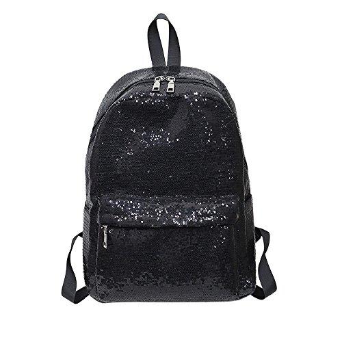 Ansenesna Rucksäcke Damen Groß Pailletten Glitzer Backpack Mädchen Mode Taschen Für Reise Outdoor Schwarz Silber Blau (Schwarz)