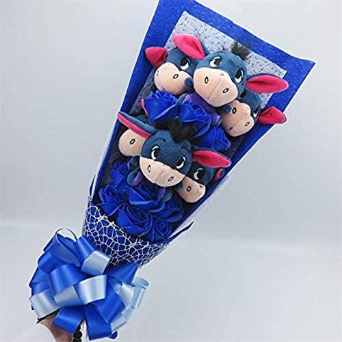 Leuke Zachte zeep met ezel Iejoor Boeketten Cartoon dingen Dieren Knuffels Creative Valentine/Graduation Gift Blue