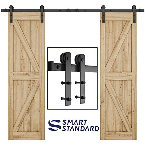 "SMARTSTANDARD 8ft Heavy Duty Double Door Sliding Barn Door Hardware Kit - Smoothly and Quietly -Easy to install - Includes Step-By-Step Installation Instruction Fit 24"" Wide Door Panel(I Shape Hanger)"