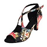 HXYOO Zapatillas de salón Interiores para Mujeres latín Salsa(39, Negro)