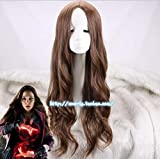 The Avengers Scarlet Witch Wanda Django Maximoff ondulado largo sintético Cosplay peluca de pelo para adultos + gorro de peluca gratis