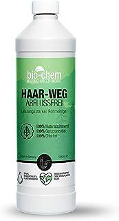 bio-chem Haar-weg Abflussfrei – Flüssiger Abflussreiniger, Rohrreiniger – Extrem effektive Formel gegen Verstopfungen und Haare - für Dusche, Bad, Badewanne, WC, Waschbecken, Küche, Siphon – 1000 ml