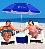 AMMSUN 6.5ft twice folded Portable beach umbrella with sand anchor, Push Button Tilt and Air vent UV 50+ Protection Fits in Suitcase for Patio Garden Beach Pool Backyard Blue