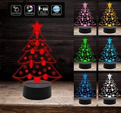 Lampada ALBERO DI NATALE a led MULTICOLORE a batteria + cavo usb decorazioni luci colorate di Natale natalizie IDEA REGALO