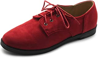 Women Classic Flat Shoe Lace Up Faux Suede Oxford