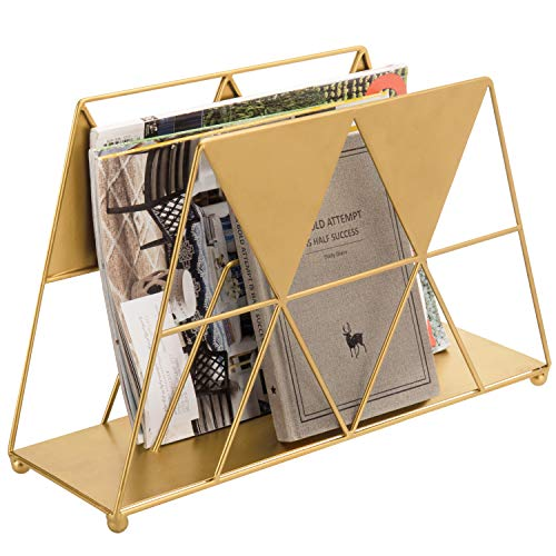 MyGift Modern Geometric Gold-Tone Metal Desktop Magazine Holder Rack