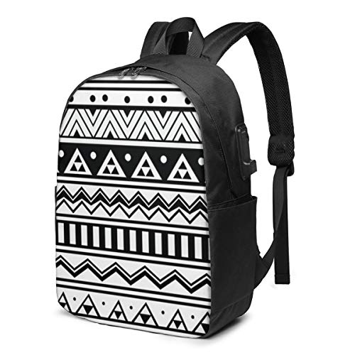 The Best and Abstract Geometric Aztec Style Laptop Backpack Men Women USB Port Slim Business Computer Backpack Anti-Theft Water Resistant Travel Laptop Bag Lightweight 17 Inch
