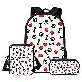 Mochila para niños Twoheartsgirl Dog Paw School Bags Set para niños y niñas, estudiantes, mochila escolar, bolsa de libros para niños, mochila personalizada