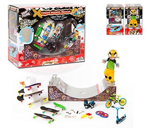 Grip&Tricks - XTREM BOX - Un maletín de juguete Finger Toys Monopatin para dedos Skate Scooter Longboard Roller BMX Halfpipe - Stairs - Dimensions: 32 X 26 X 16 cm