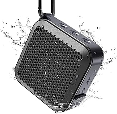 Waterproof Bluetooth Speaker, Shower IPX7 Wireless Outdoor Mini 5W Bluetooth Speakers, Bluetooth 5.0, AUX-in TF Card, 12 Hours Playtime, built in mic and 360¡ã TWS Stereo Sound - Black (No FM) from KIYEDAM