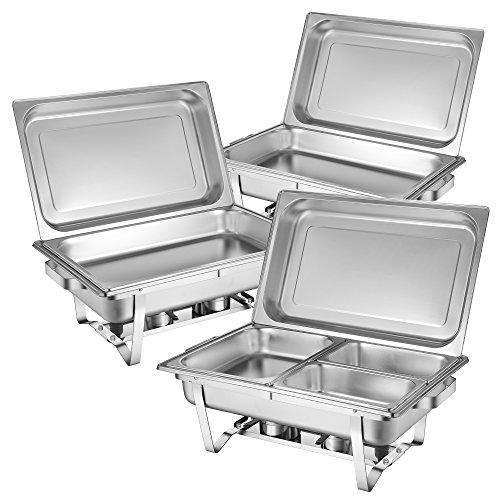 Zelsius Chafing Dish Profi Set Montpellier, 3X Edelstahl Warmhaltebehälter, 21-TLG Speisewärmer, Wärmebehälter, Rechaud, Chafing Dishes, Speisenwärmer, für Catering, Buffet und Party