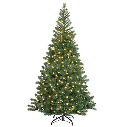 Casaria albero di Natale 140 cm luci LED abete nobile pino artificiale folto con supporto albero natalizio finto con lucine PE verde