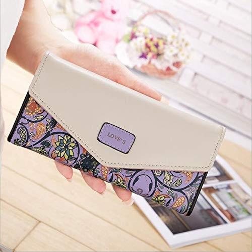 Heliansheng Pequeño sobre de Color Floral con Hebilla Cartera Larga para Mujer, Bolso de Mano para Mujer, Bolso de Piel para niña -Púrpura-D920