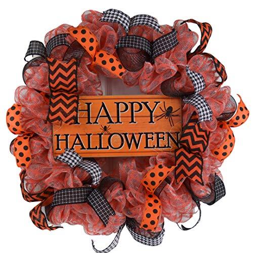 Happy Halloween Door Wreaths | Spider Mesh Outdoor Front Door Wreath; Black Orange White