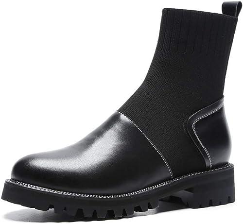 HRN botas de Moto Martin para mujer, botas de tacón Grueso de Cuero, Botines de Estiramiento Casual, otoño Nuevo