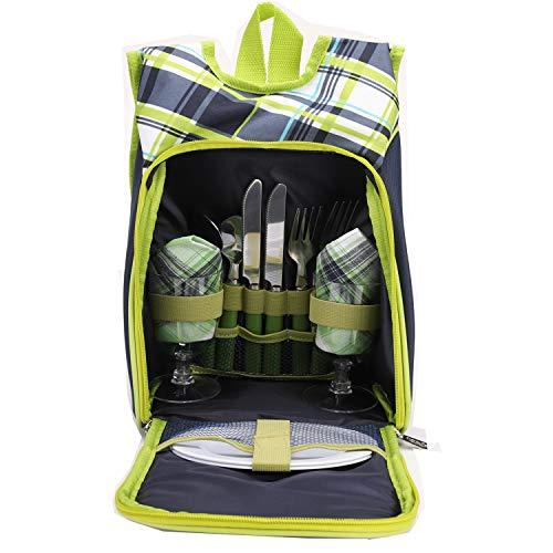Kit de Bolsa de Picnic - Set para Picnic de 2 Personas con Botella Desmontable/Soporte para Vino con Bolsa para vajilla Bolsa de Almuerzo (Verde)