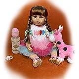 H.aetn 22 Pulgadas / 55 cm Cuerpo de Vinilo de Silicona Completo muñecas de niña Reborn con Pelo Largo muñeca Realista de Princesa para niños pequeños