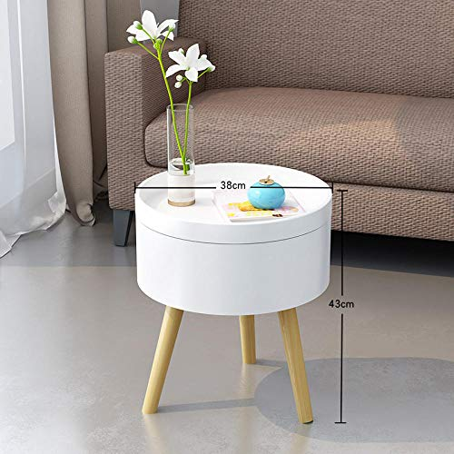 Longxs Small Side Tables for Small Spaces,Simple Small Coffee Table, Mini Side Table, Creative Side Table, Bedroom Bedside Table, Mixed Tripod Table-Pure White_Small Tube Table Standard 38 * 38 * 43