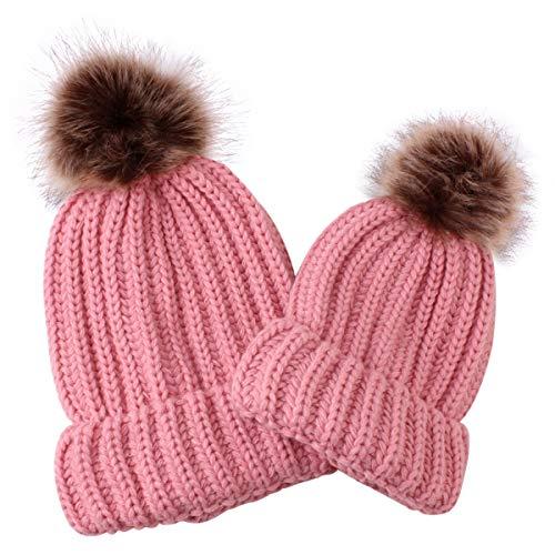 Mama baby warme wintermuts gestreept gehaakte muts effen 2 piezas Roze